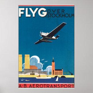 FlyG över den Stockholm vintage resoraffischen Poster