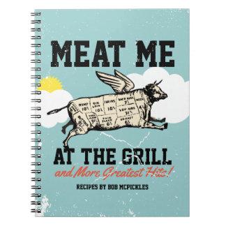 Flyga kon som grillar kokbokreceptanteckningsboken anteckningsbok