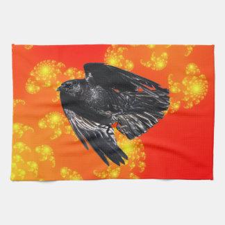 Flyga svart korpsvart Kråka-älskare fotodesign 7 Kökshanddukar