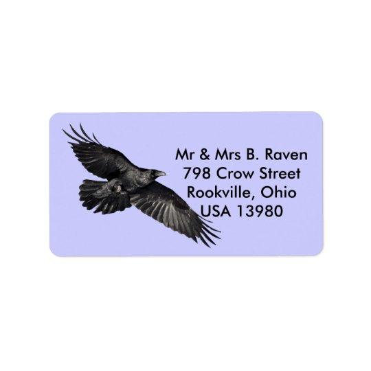 Flyga svart korpsvarta Fågel-älskare etiketter Adressetikett