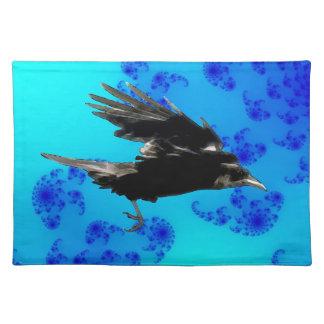 Flyga svart kråkakonst för Birdlovers Bordstablett