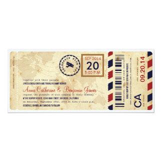 Flygbolaglogiet passerar biljettbröllopinbjudan 10,2 x 23,5 cm inbjudningskort