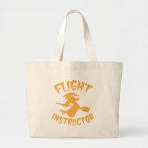 Flyginstruktör i orange Halloween flyghäxa Tote Bags