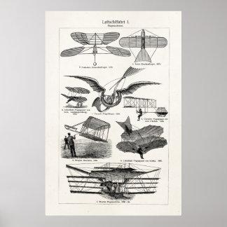 Flygplan för Airships för vintageflygplanflygplan  Poster
