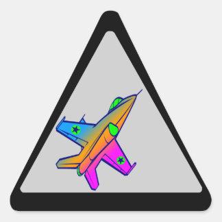 Flygplan för kämpe för jet för Corey tiger80-tal Triangelformat Klistermärke