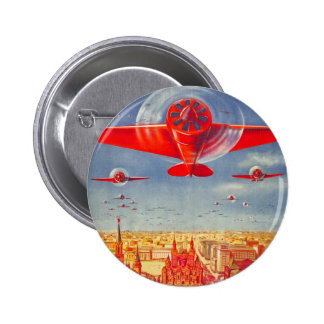 Flygplan för propaganda för hötorgskonstvintage so standard knapp rund 5.7 cm