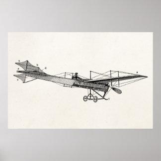 Flygplan för stötta för vintagepropellerflygplan poster