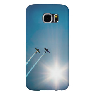 Flygplan som flyger på blå himmel med Sun. Samsung Galaxy S6 Fodral