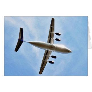 Flygplan tar av hälsningskort