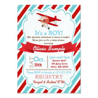 Flygplanbaby showerinbjudan 12,7 x 17,8 cm inbjudningskort