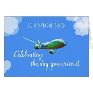 Flygplandag för brorsdotteradoption med gröna hälsningskort