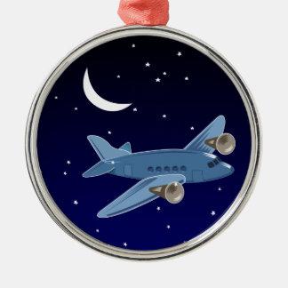 Flygplanflyg på natten med månen & stjärnor. julgransprydnad metall