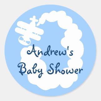 Flygplanklistermärkear för baby shower runt klistermärke