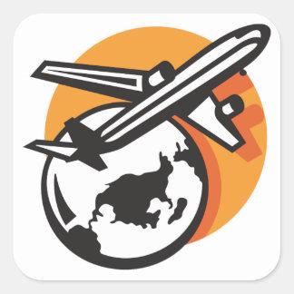Flygplanvärlden reser klistermärkear fyrkantigt klistermärke