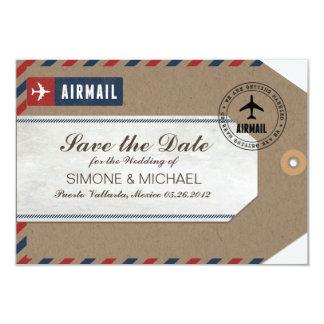 Flygpost daterar sparan för bagagemärkrebröllop 8,9 x 12,7 cm inbjudningskort
