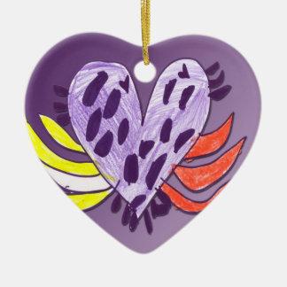 Flyta hjärta julgransprydnad keramik