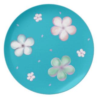 Flyta pastell bubbla blommor tallrik