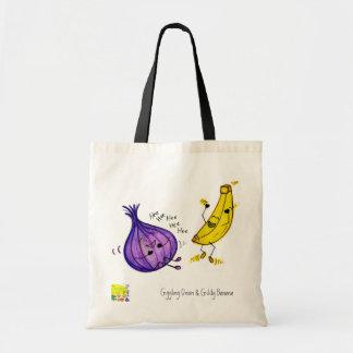 Fnissa löken och den snurriga bananen hänga lös tygkasse