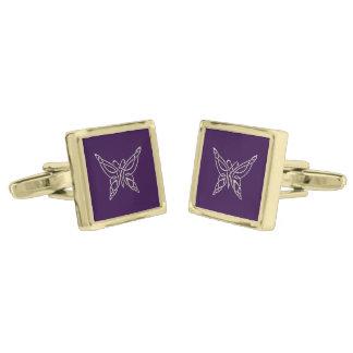 Fnurror för purpurfärgad Celtic fjäril för silver Guldpläterade Manschetterknappar