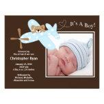 Födelse Annoucement för blåttflygplanpojke Anpassade Inbjudningskort