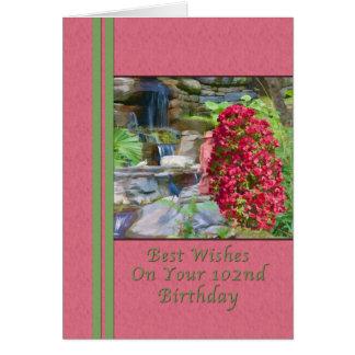 Födelsedag 102., Bougainvillea, fåglar, vattenfall Hälsningskort