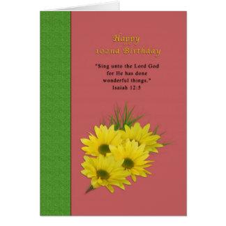 Födelsedag 102., gula daisy, religiösa hälsningskort