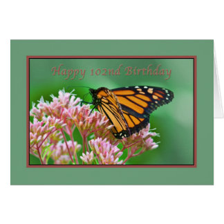 Födelsedag 102., monarkfjärilskort hälsningskort
