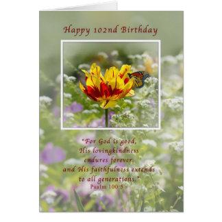 Födelsedag 102., religiösa, fjäril hälsningskort