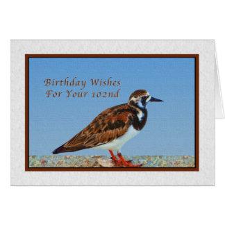 Födelsedag 102., rödlätt Turnstonefågel Hälsningskort