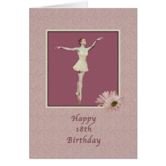 Födelsedag 18th, Ballerina på Pointe med daisy Kort