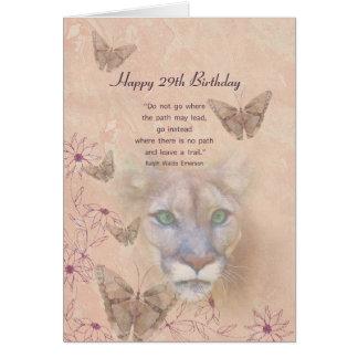 Födelsedag, 29th, puma och fjärilar hälsningskort