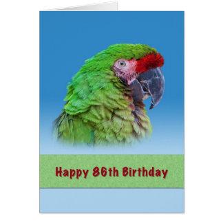 Födelsedag 86th, grön papegoja hälsningskort