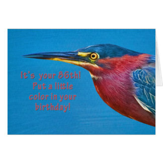 Födelsedag 86th gröna Heronfågel Hälsningskort