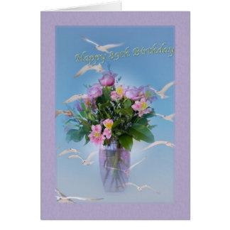 Födelsedag, 89th, blommor och fåglar hälsningskort