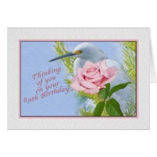 Födelsedag, 89th, rosa ros och snöig Egretfågel Hälsningskort