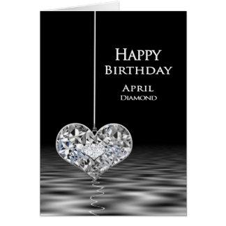 Födelsedag - Birthstone - April - diamant Hälsningskort