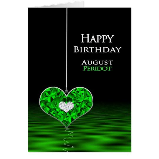 Födelsedag - Birthstone - Augusti - Peridot Hälsningskort