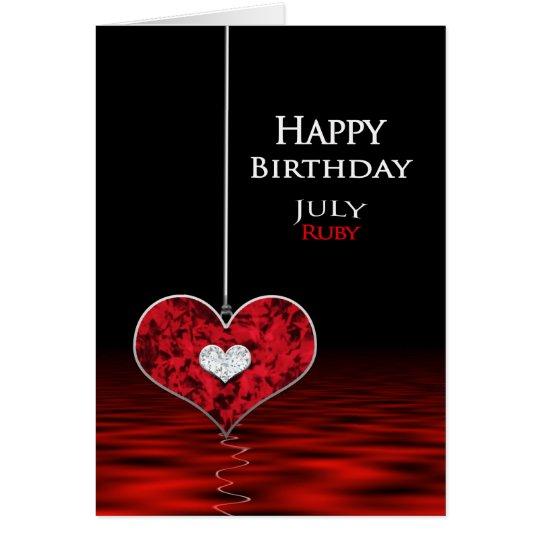 Födelsedag - Birthstone - JULI - Ruby Hälsningskort