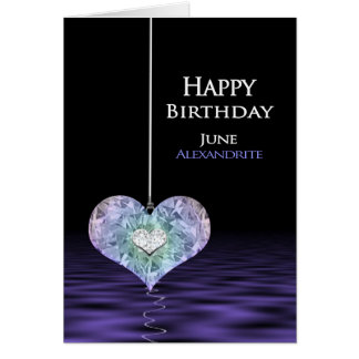 Födelsedag - Birthstone - JUNI Alexandrite Hälsningskort