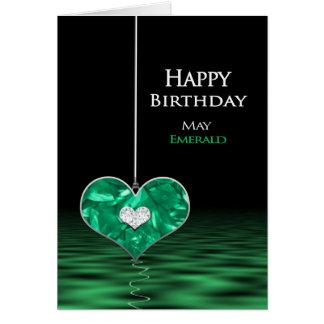 Födelsedag - Birthstone - maj - smaragd Hälsningskort