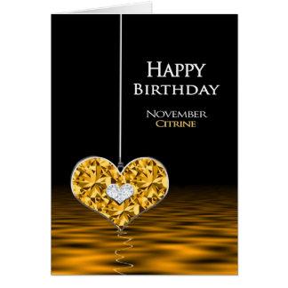 Födelsedag - Birthstone - November - Citrine Hälsningskort