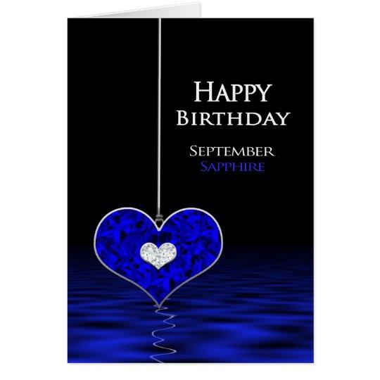 Födelsedag - Birthstone - September - safir Hälsningskort
