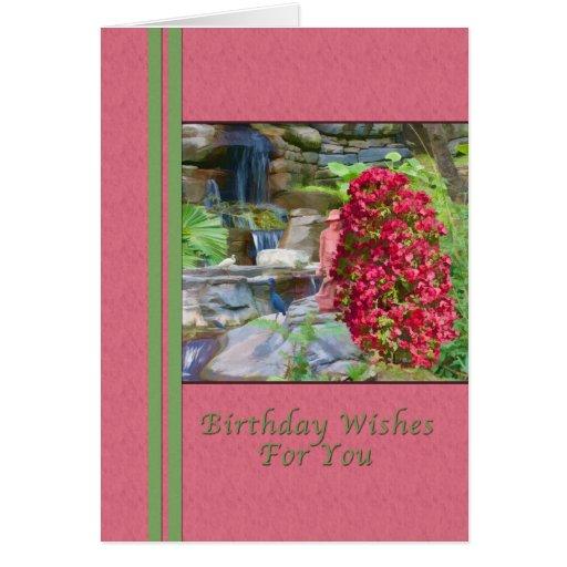 Födelsedag Bougainvillea, fåglar, vattenfall Kort