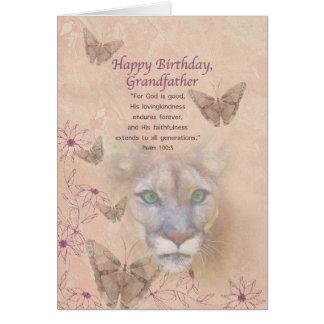 Födelsedag, farfar, puma och fjärilar hälsningskort