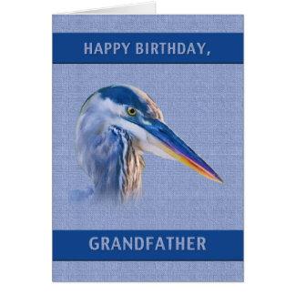 Födelsedag farfar, underbar blåttHeron Hälsningskort