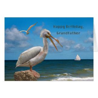 Födelsedag farfar, vitpelikan på en sten hälsningskort