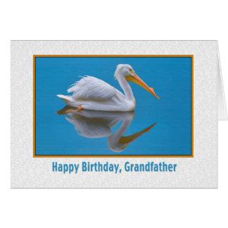 Födelsedag farfar, vitpelikan, reflexioner hälsningskort