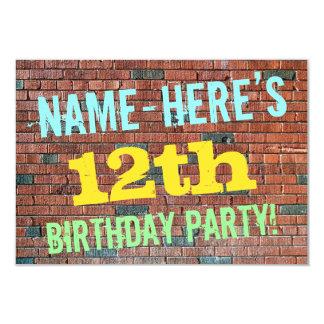 Födelsedag för 12:e för tegelstenvägggrafitti 8,9 x 12,7 cm inbjudningskort