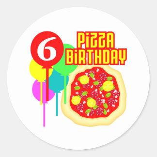 födelsedag för 6efödelsedagPizza Rund Klistermärke