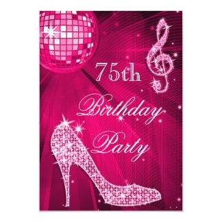Födelsedag för 75:e för häl för gnistra för shock 12,7 x 17,8 cm inbjudningskort
